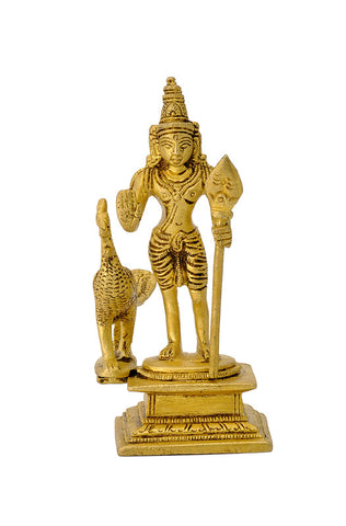 God Murugan Swami Miniature Brass Statue