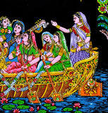 Lord Krishna Playing Flute in a Boat with Gopis