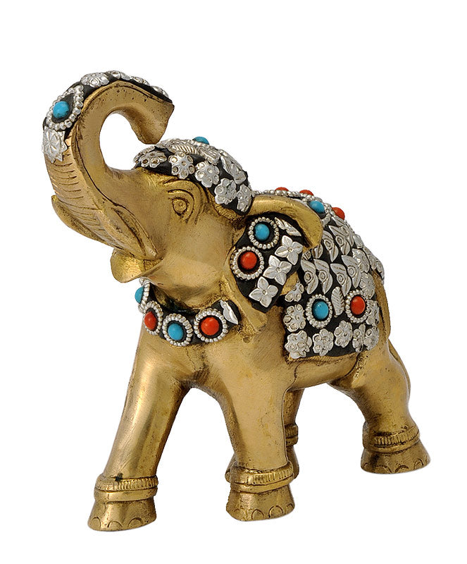Decorative Royal Elephant Brass Figure 6.25""