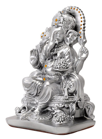 Lord Ganesh - Silver Finish Poly Resin Statue