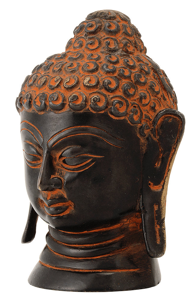 Lord Buddha Head in Black Finsih