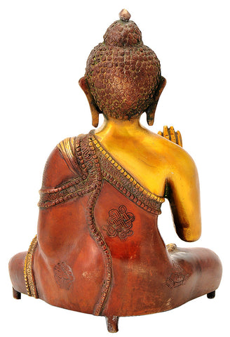 Blessing Buddha with Ashtamangala Carved Signs 11""
