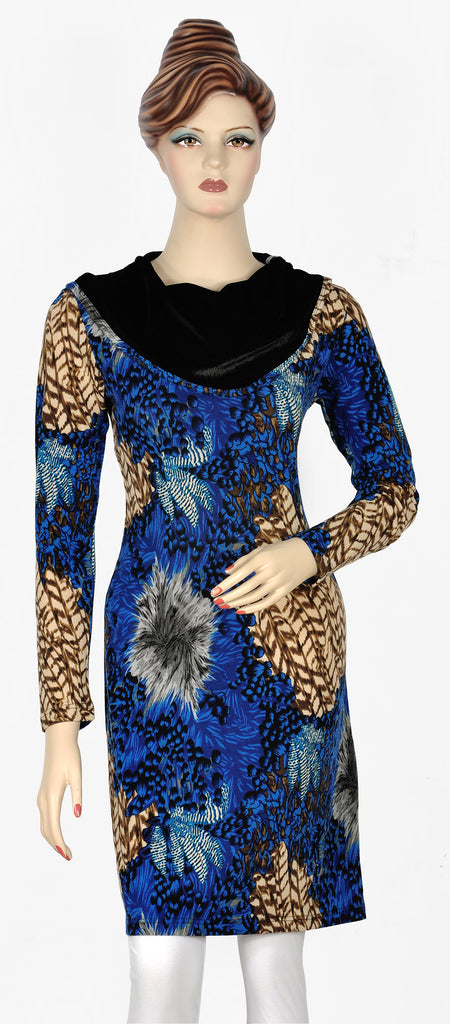 Blue Printed Velvet Top