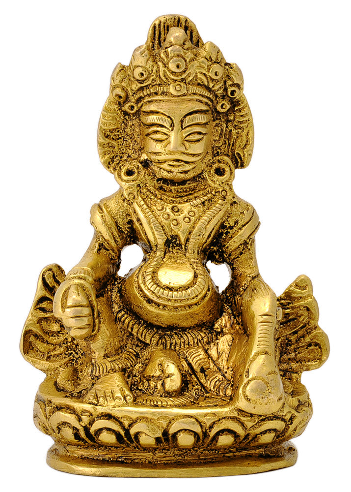 God of Wealth Kuber Brass Figure