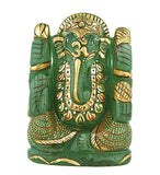 God Ganesha - Painted Aventurine Statue 3""