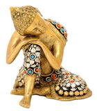 Buddha Resting on Knee Brass Statue