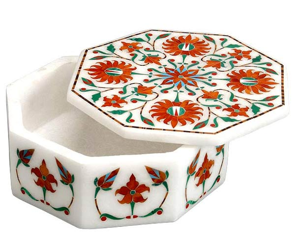 Beautiful Flowers - Marble Box