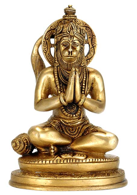 Hanuman Worshiping Lord Rama - Brass Statue