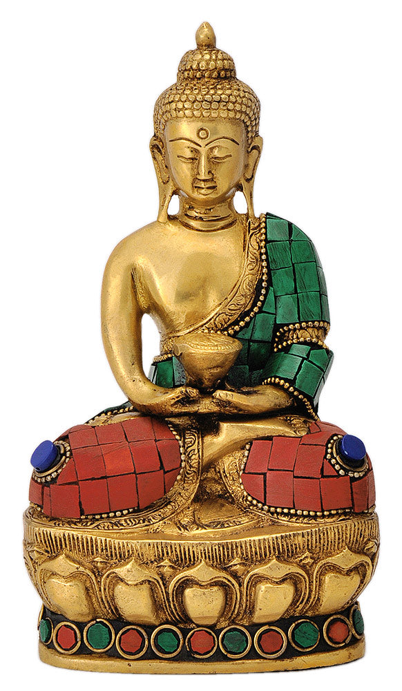 Buddha Brass Sculpture in Turquoise and Coral Color Finish
