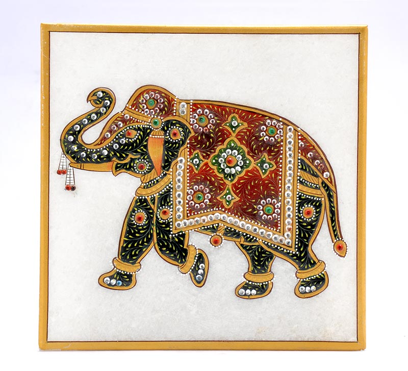 Indian Elephant - Marble Tile Painting