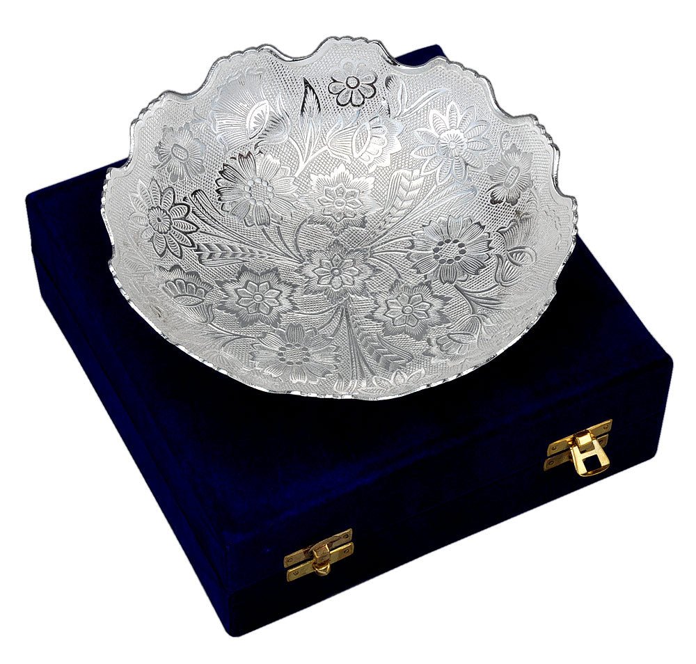 Floral Elegant Silver Plated Bowl in Velvet Box