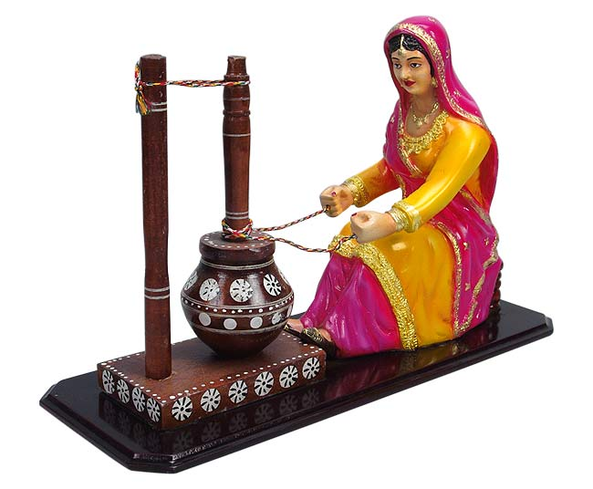 Indian Lady Churning Butter - Resin Statuette