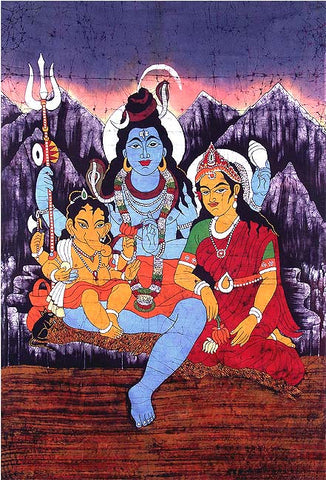 Eternal Family of Shiva - Batik Painiting 64""