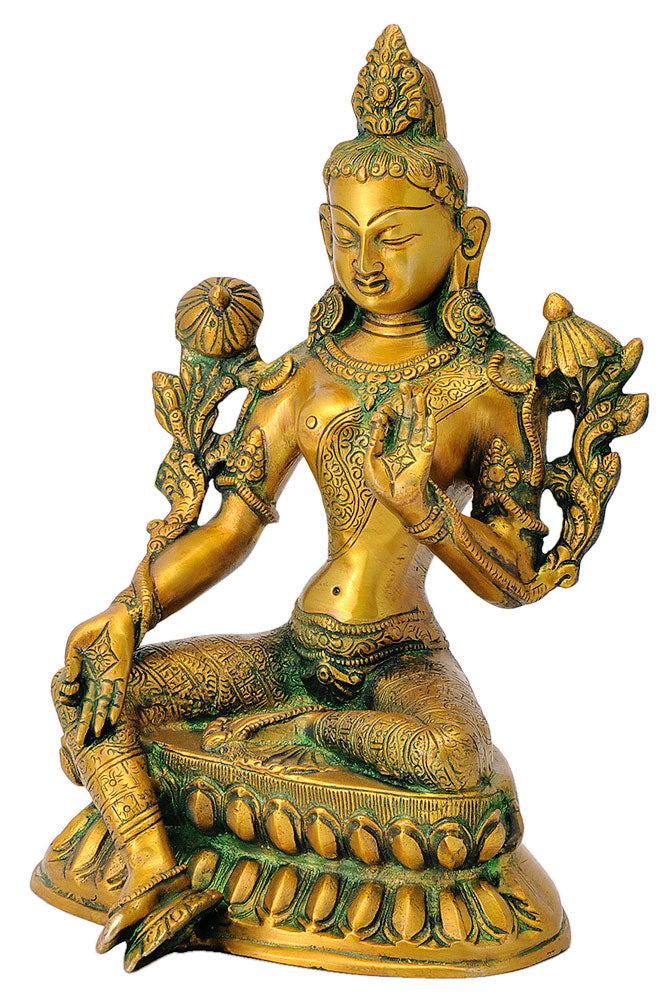 Tara Statue in Antique Golden Finish