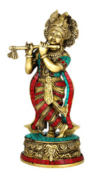 Lord Krishna Ornate Brass Statue