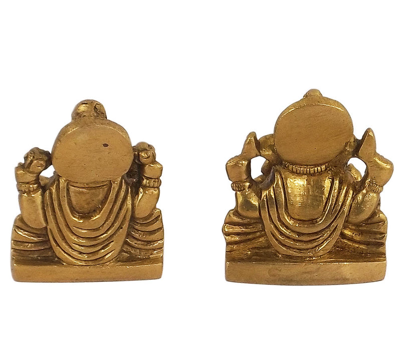 Lord Ganesha and Goddess Luxmi Small Brass Statue