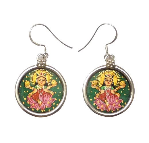 Goddess Lakshmi - Hand Painted Earrings