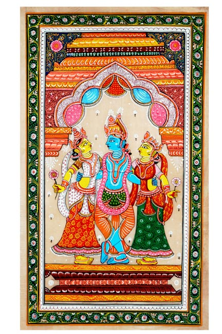 Krishna with Consorts-Indian Devotional Painting