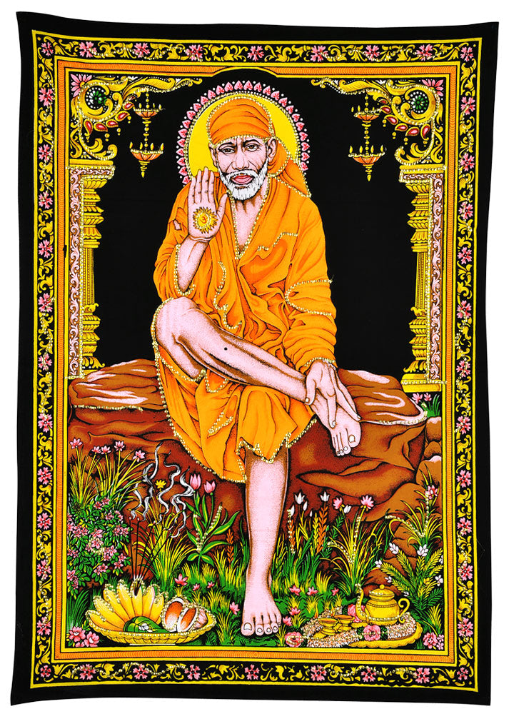Lord Shirdi Sai Baba Cotton Tapestry