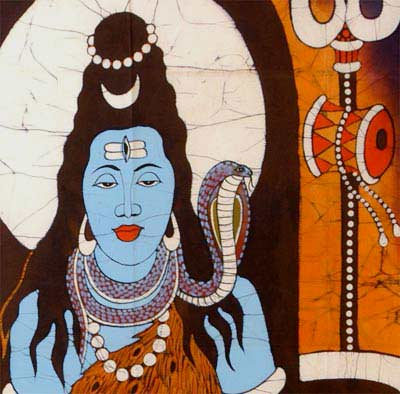 Serene Shiva - Indian Batik Painting