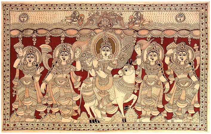 Lord Venugopala and Gopis - Large Kalamkari Painting