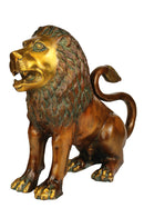 Pair Lion Sculptures in Brass 13.50""