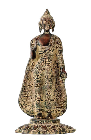 Standing Buddha with Ashtamangala Carved on His Robe