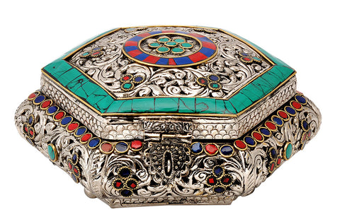 Hexagon Jewelry Box with Floral Design & Colored Mosaic