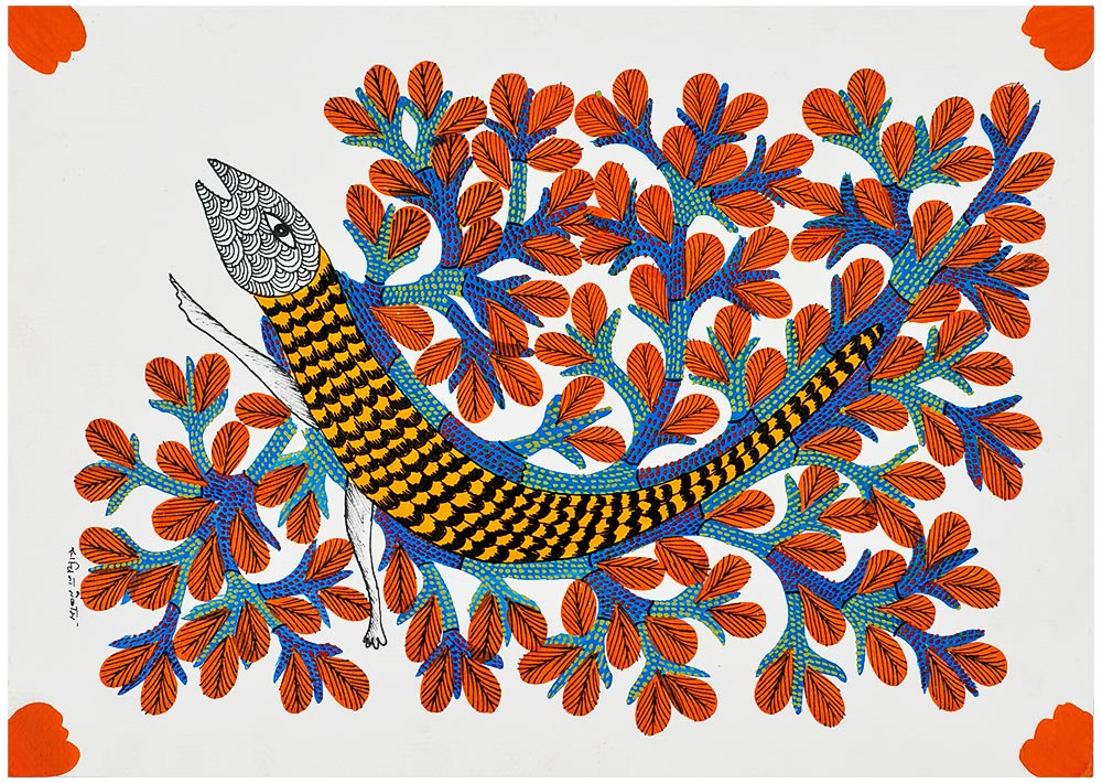 A Rainy Creature - Gond Tribal Painting