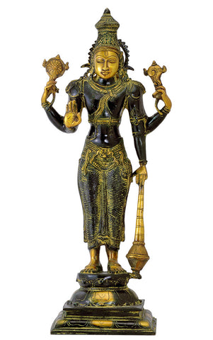 Sri Narayan Brass Sculpture in Old Finish