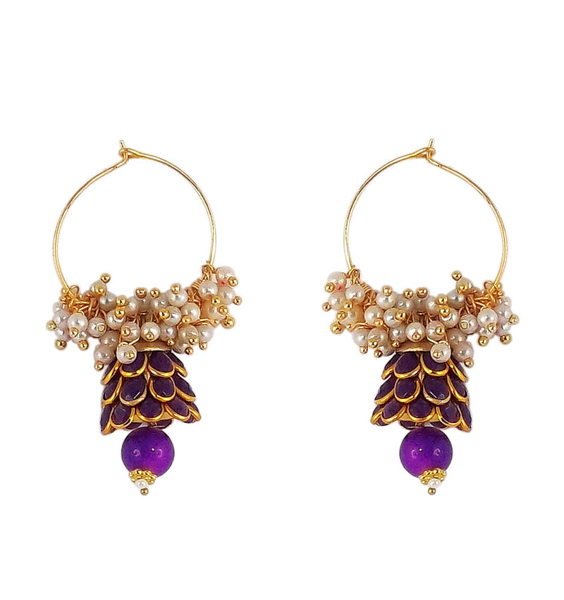 Traditional Indian Style Bali Jhumki Earrings Purple for Womens
