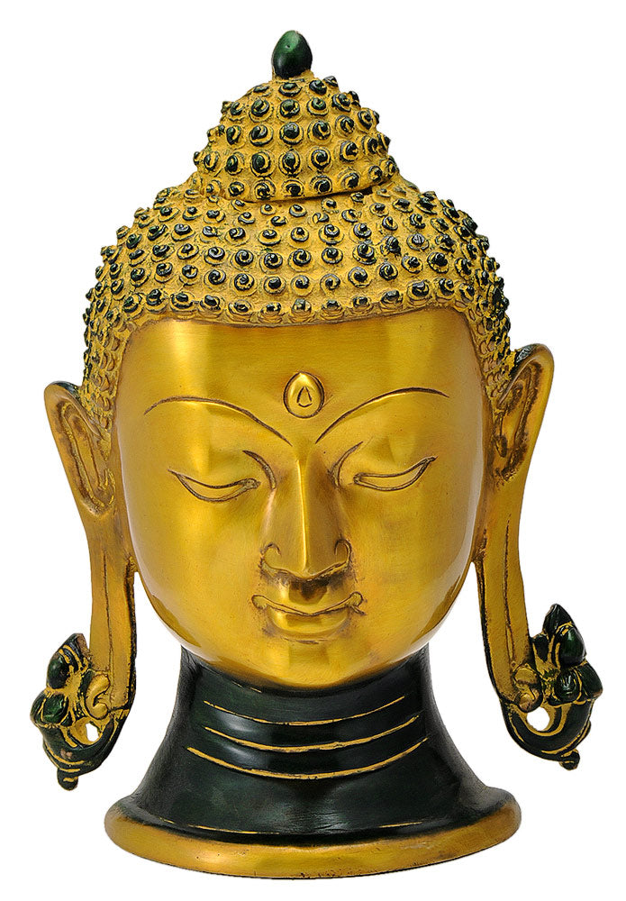 Brass Buddha Head in Golden Finish