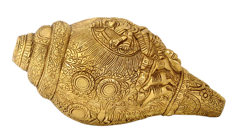 Sun God Surya Engraved Brass Conch