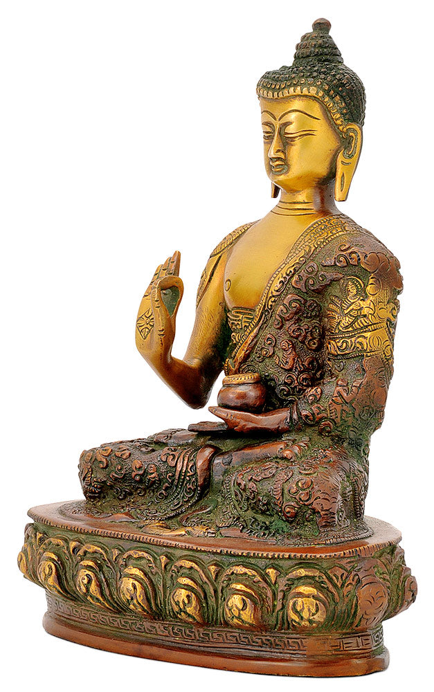 Golden Brown Finish Buddha with Carved Robe