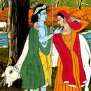 Radha Krishna on the Bank of Yamuna - Batik Painting