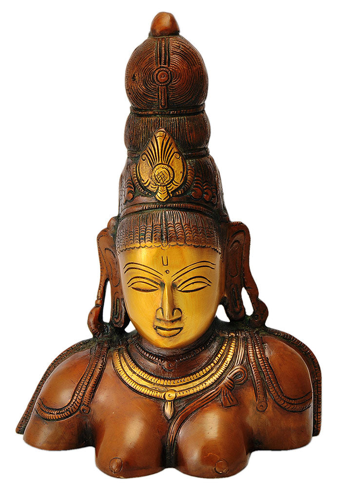 Devi Shakti Bust Statue in Golden Brown Finish