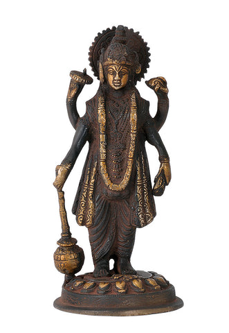 Standing Shri Narayan Antiquated Brass Figurine