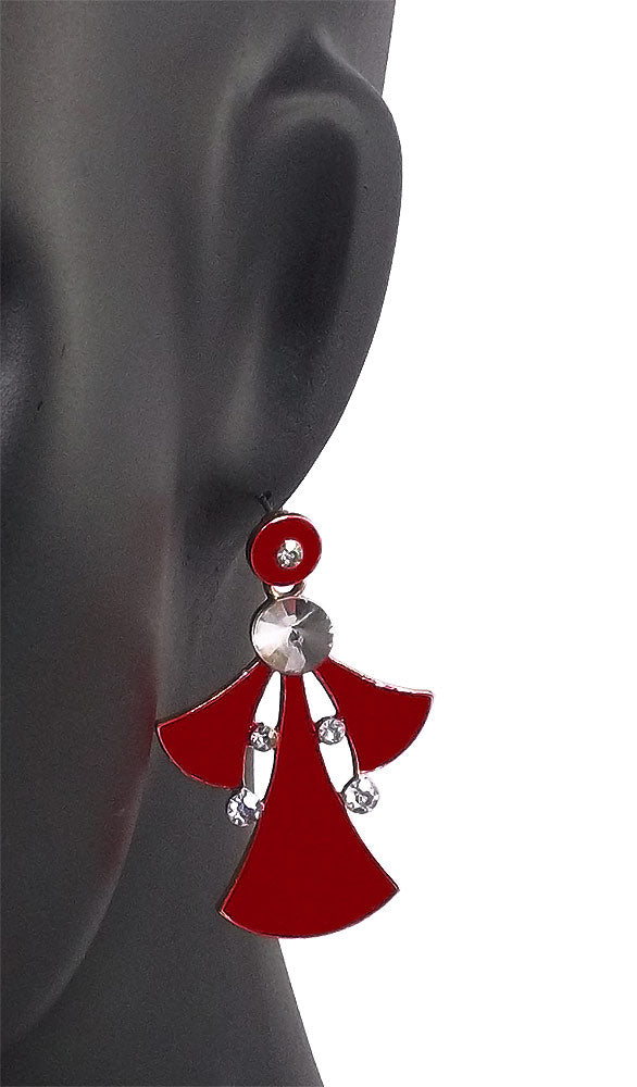 Red Stone Studded Metal Dangle & Drop Earrings