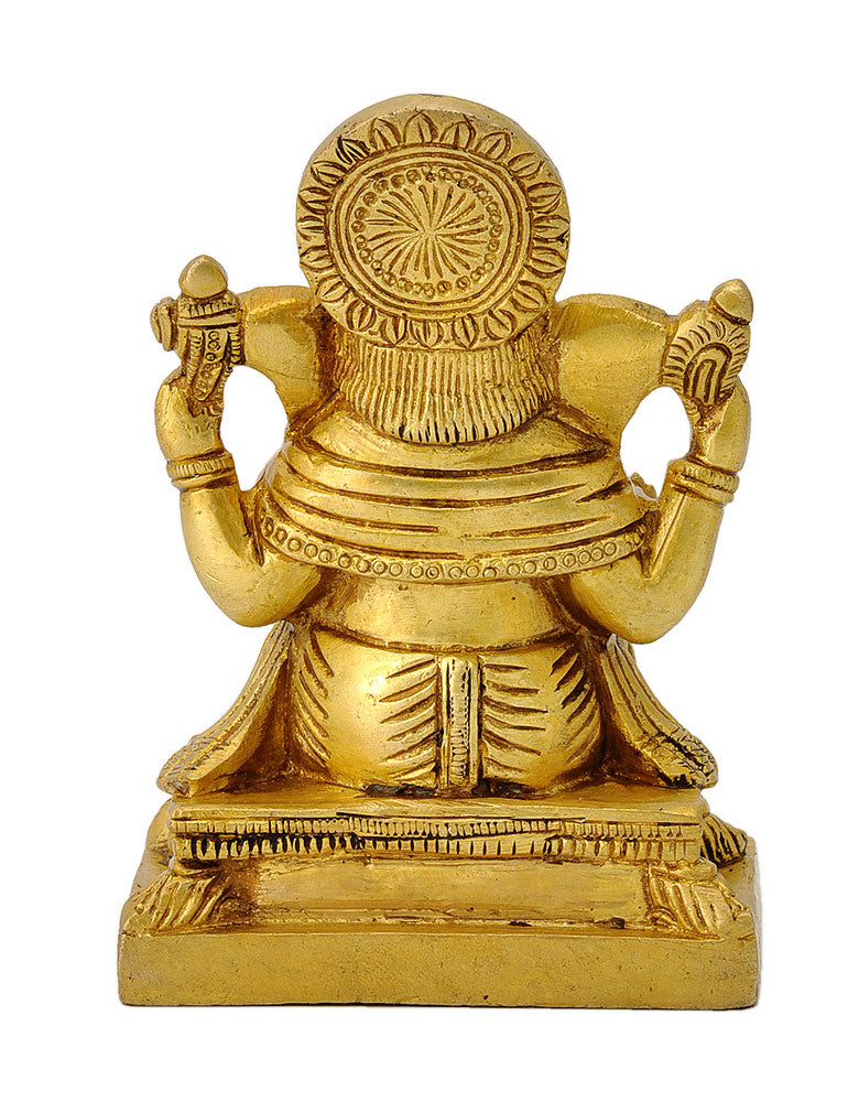 God Ganpati Ji Golden Finish Brass Statue
