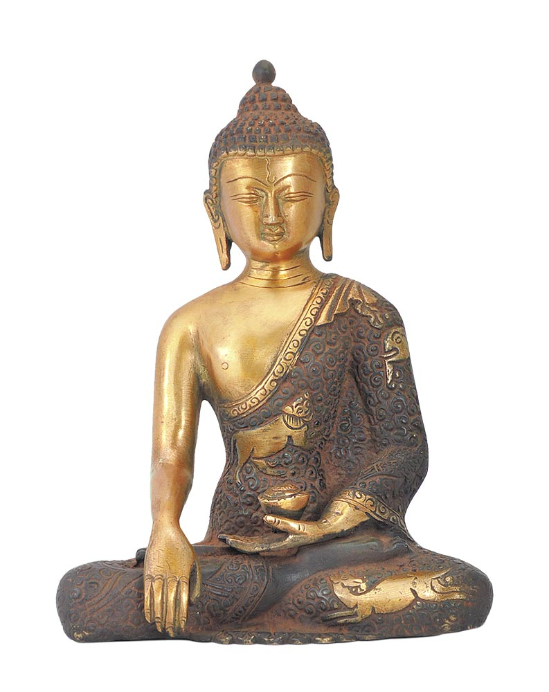 Bhumisparsha Buddha - Antiquated Brass Statue 8""