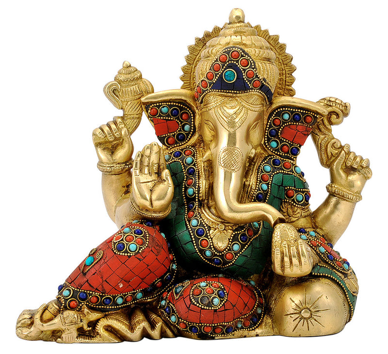 Resting Ganesha Brass Sculpture