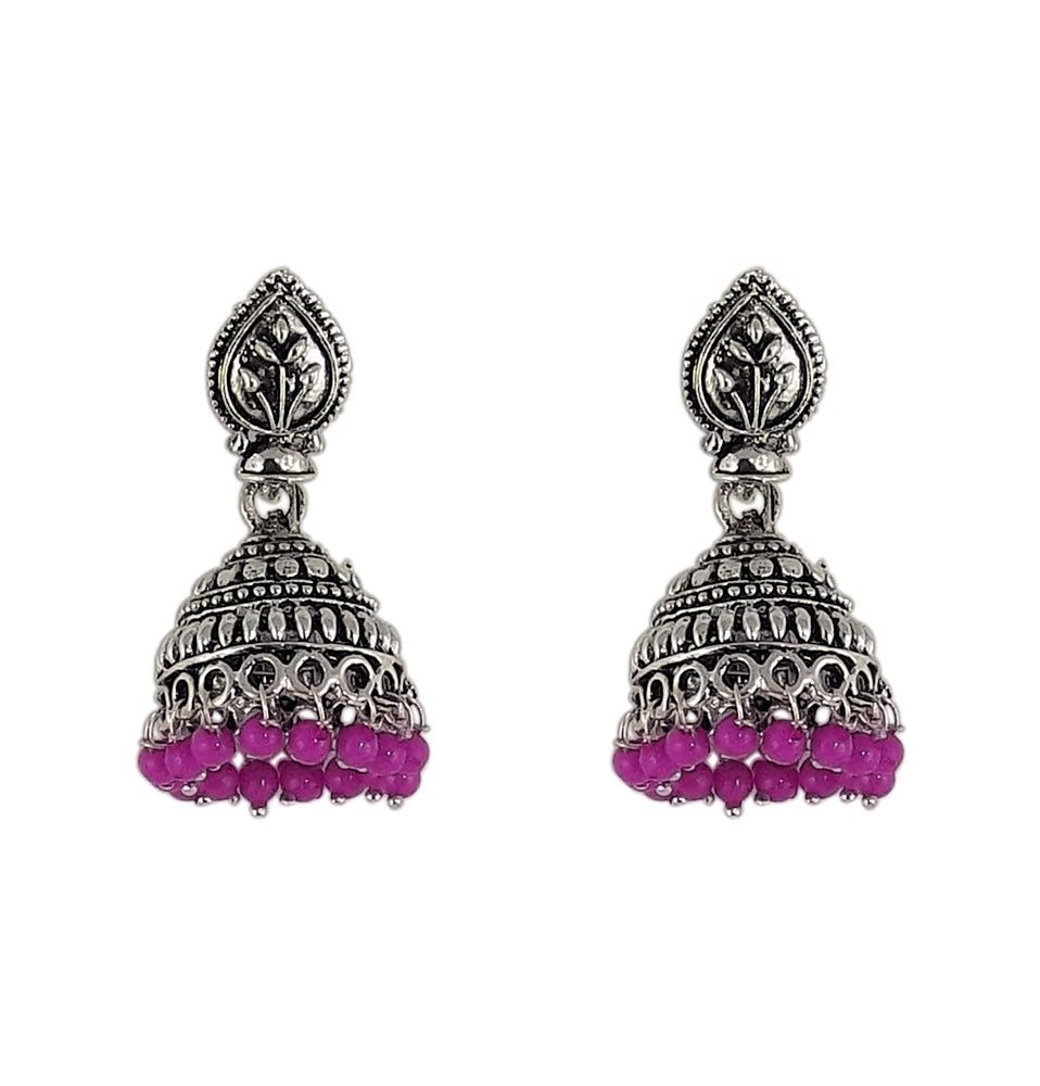 Magenta Beads Traditional Indian Style Sliver Color Jhumki Earrings