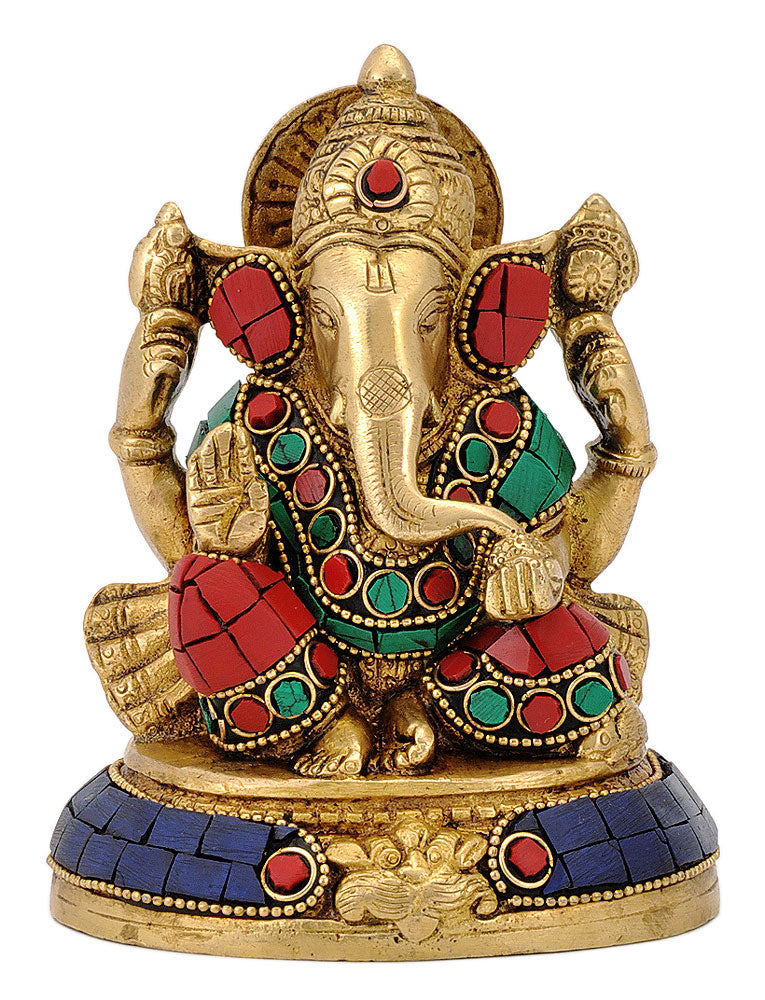 God Ganesha Figurine with Stones