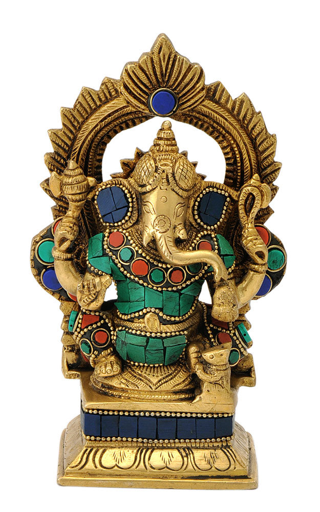 Ornate Large Belly Ganpati 6.50""