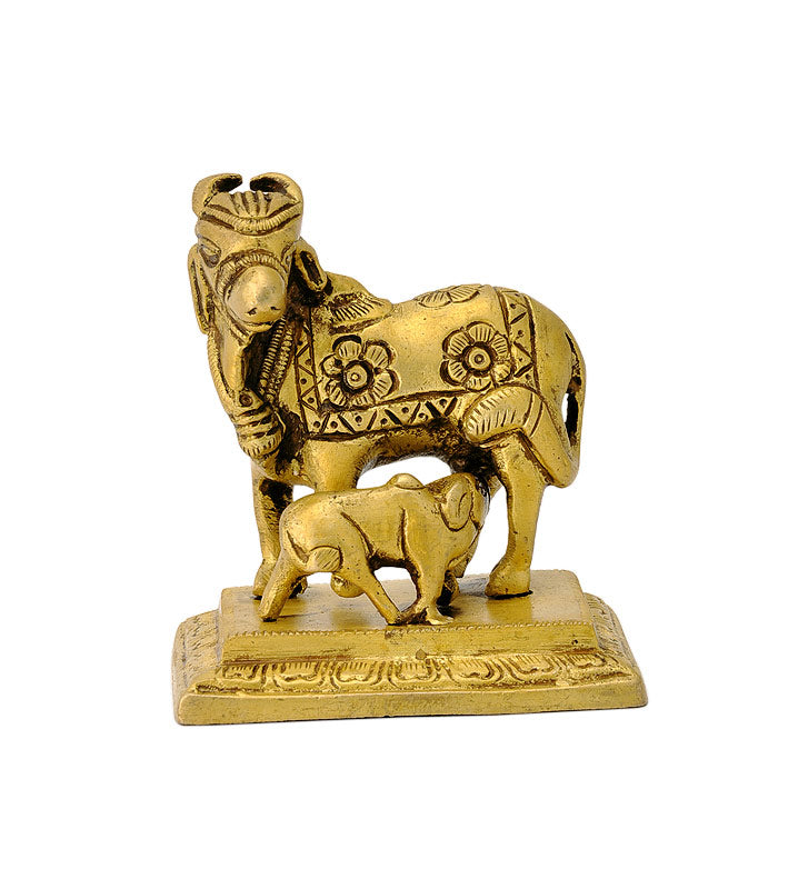 Miniature Brass Cow With Her Calf