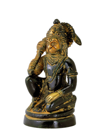 Antiquated Lord Hanuman Brass Sculpture