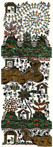 'A Day in Warli' Tribal Art Painting