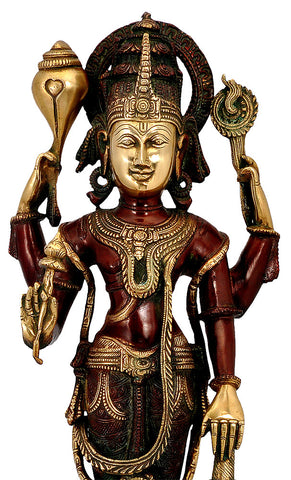 Lord Shri Vishnu - Brass Sculpture 23""