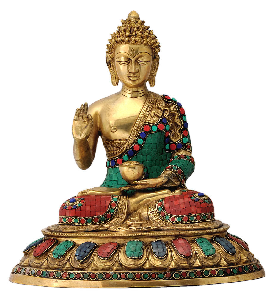 Buddha Sculpture Decorated with Color Stones