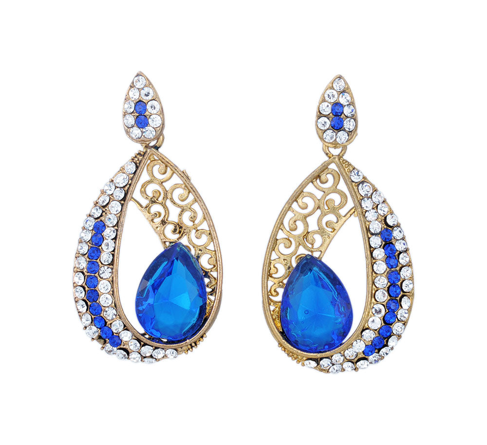 Trendy Golden Dangle Earring Studded with Blue Stone